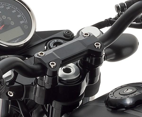Lenkerverkleidung, Aluminium, schwarz für Moto Guzzi V7 III