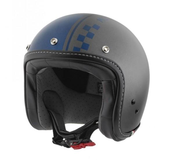 Moto Guzzi Jethelm Ches grau blau