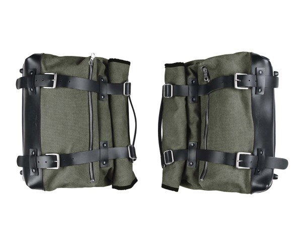 Seitentaschensatz, grün, Canvas für Moto Guzzi V9 Roamber / Bobber / V7 850 2021-