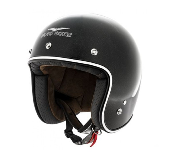 Moto Guzzi Jethelm Metalflank Helm schwarz